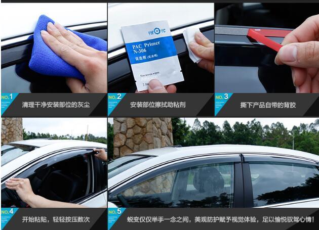 Supérieur star 4 pièces voiture Abris avec garnitures brillantes, Fenêtres pare-Pluie sourcil, pluie bloc pour Nissan SYLPHY 2012-2016