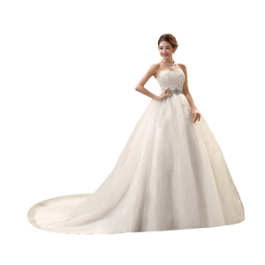 Image 5 - White Hot Sale Royal Train 2019 Romantic Luxury Wedding Dresses With Tail Sexy Vintage Bridal High Lace Wedding Dress
