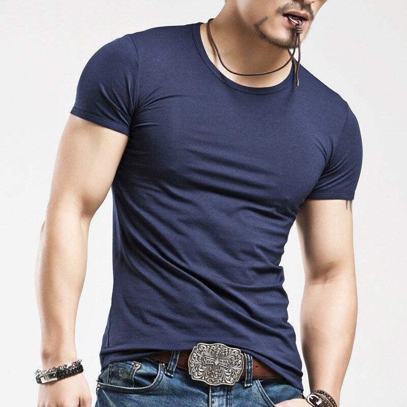 Herre Pure Colour O-Neck T-Shirt Render Unlined Upper Garment T-Shirt - Herretøj - Foto 4