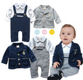 Toddler infant gentlemen baby boy spring and autumn clothes set long sleeve romper+jacket suit  menino de roupas de bebe