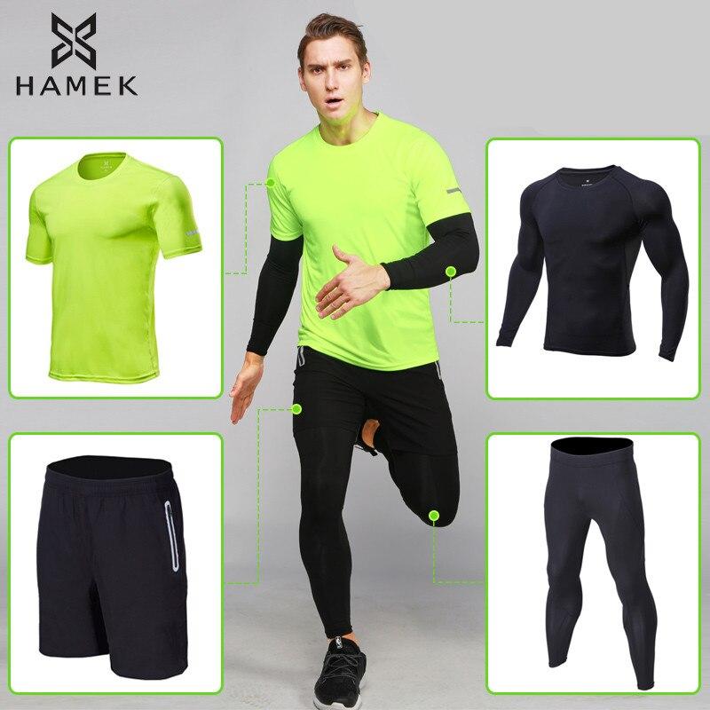 2018 Sport costume hommes Sport course ensemble séchage rapide course Compression Gym Joggers entraînement survêtement course vêtements pour hommes 4 pièces