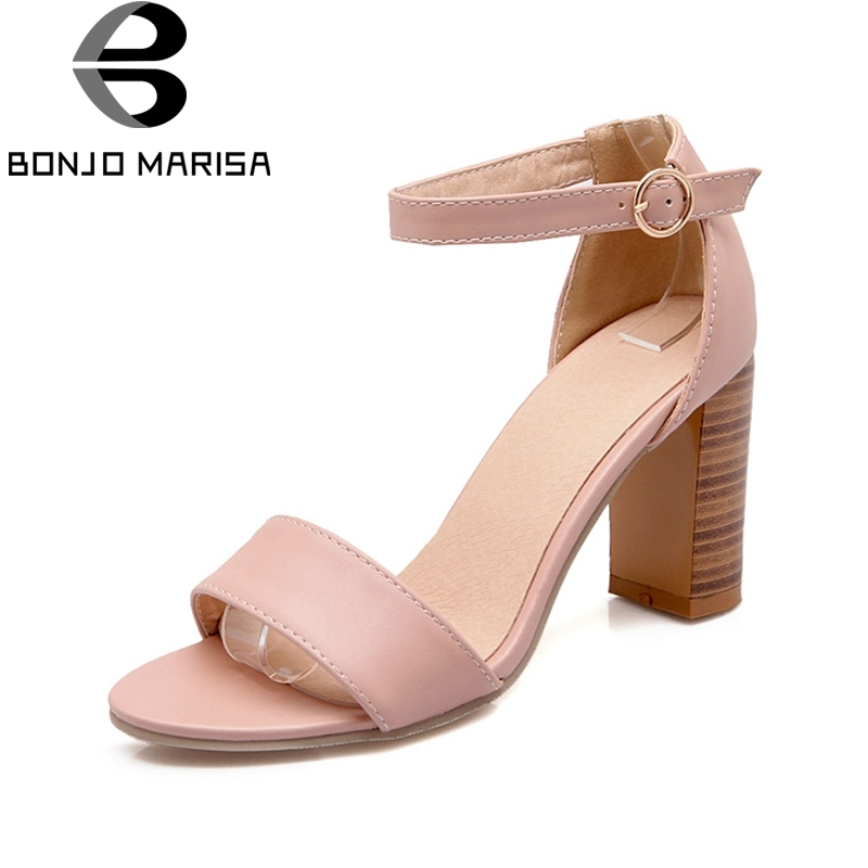 Brand Big Size 34-43 Women Gladiator Sandals Square High Heel Ankle Straps Open Toe Summer Shoes Woman Party Wedding BONJOMARISA new 2016 sexy gladiator ankle straps high heels fashion brand women sandal summer mixed colors open toe sandalias big size 34 43