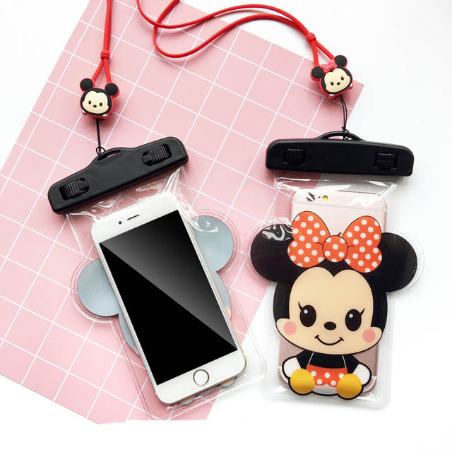 big sale 89e05 94006 Cartoon Micky Minnie Kitty Doraemon Waterproof Mobile Case For iPhone  Samsung Coin Pocket Card Holder Storage Phone Bag Pouch