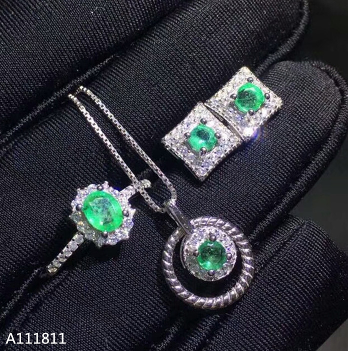 KJJEAXCMY boutique jewels 925 pure silver inlaid natural emerald lady Ring + pendant ear stud suit support test zxcvKJJEAXCMY boutique jewels 925 pure silver inlaid natural emerald lady Ring + pendant ear stud suit support test zxcv