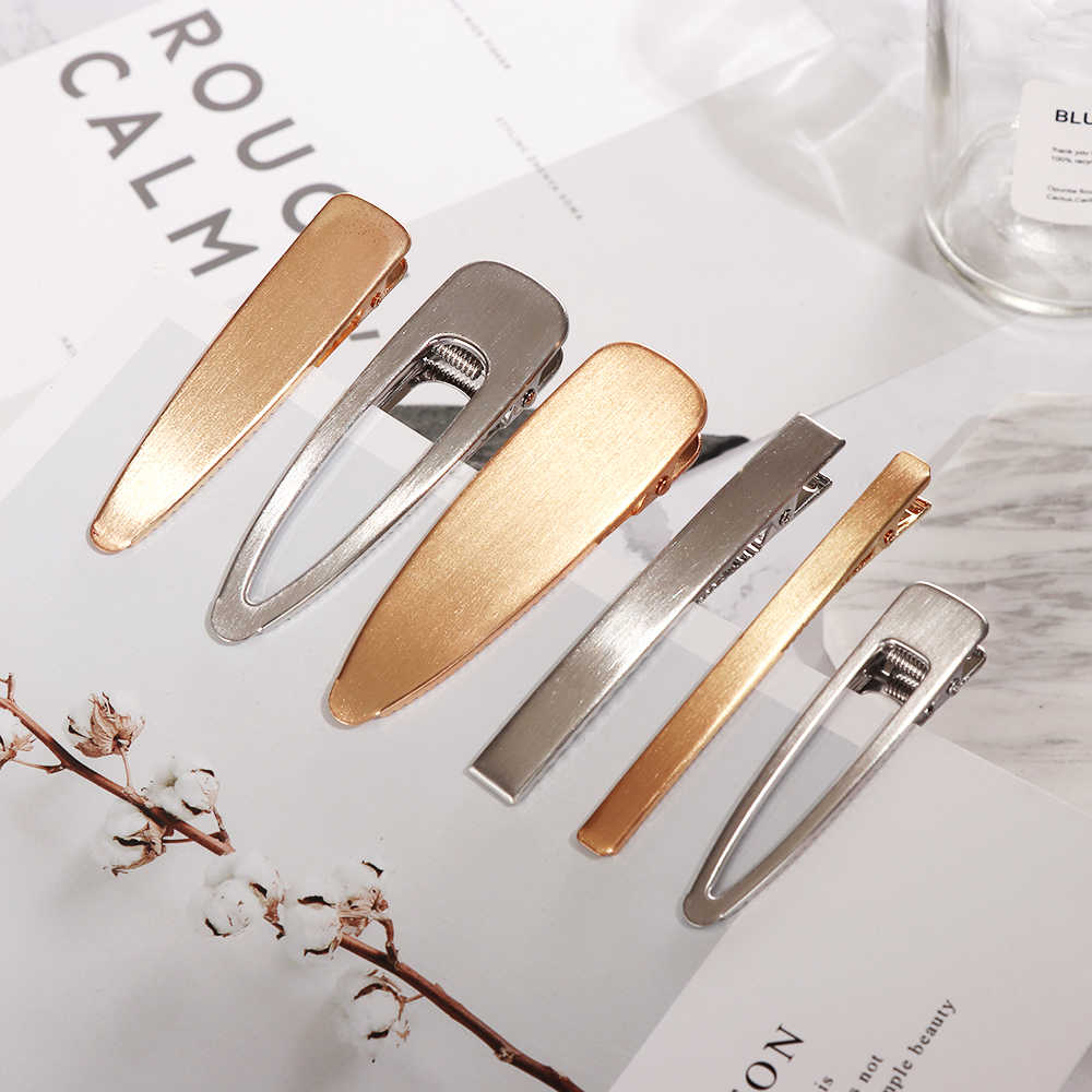 1PC Fashion Metal Hair Pins Brushed Matte Hair Clip Women Hair Tiara Barrettes Girls Hair Accessories Headdress Gold Silver