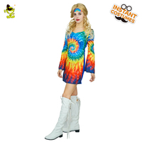 Для женщин Радуга Хиппи костюмы с расклешенные манжеты взрослых Карнавальные funky партии Мода рокер Косплэй для музыкального фестиваля