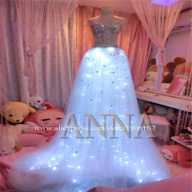 White Led Luminous Wedding Dress Led Light Up Music Festival TUTU Dress Singer Stage Performance Valentine' Day Ballroom Costume