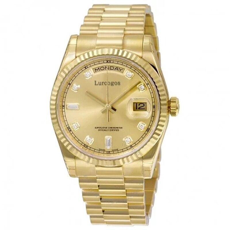 Glorieus 5 Kleuren Gouden Horloge Dag Datum Mechanische Glide Glad 40mm Heren Aaa Kwaliteit Horloges Rvs Bezel Horloges