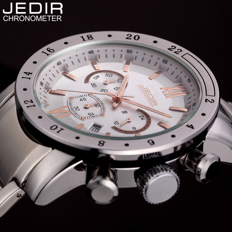 Mens Watches Top  Brand Luxury JEDIR Quartz Watch Men Sport Chronograph Stainless Steel Waterproof Wristwatch relogio masculino weide popular brand new fashion digital led watch men waterproof sport watches man white dial stainless steel relogio masculino