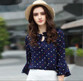 Newest Hot Sale Women Lacing Ruffles Neck Colorful Polka Dot Loose Chiffon Shirt Blouses Tops With Flare Sleeve