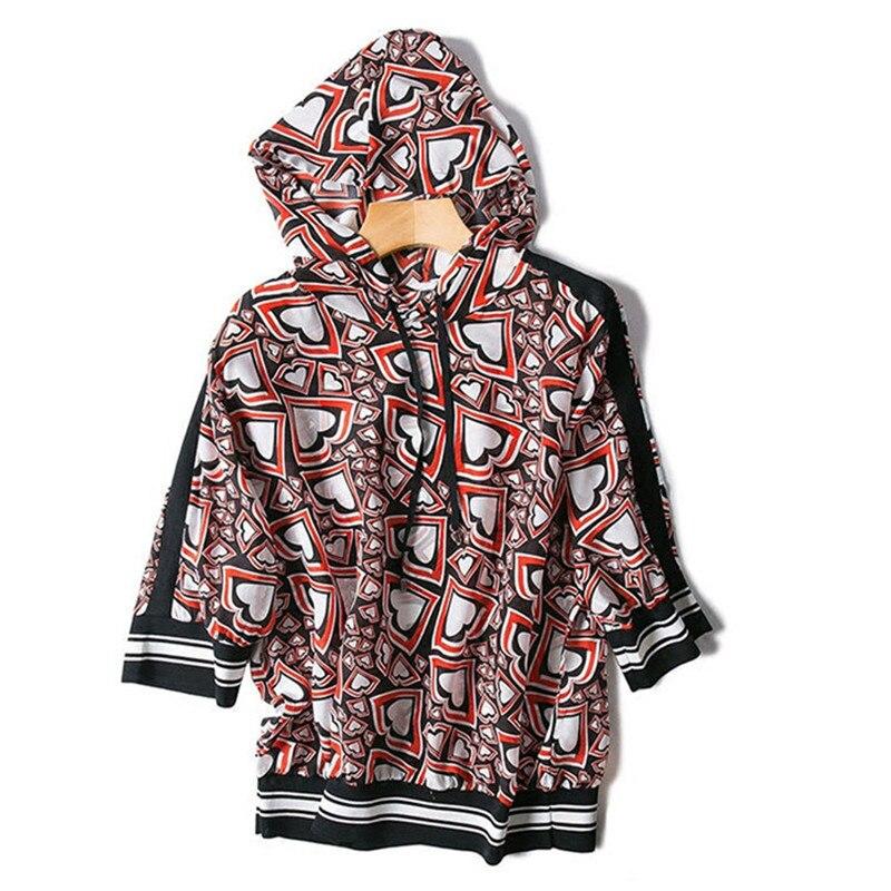 Pure soie femmes printemps automne mode t-shirts imprimé t-shirt à capuche demi manches rouge M/L détail vente entière