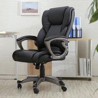 Кресло руководителя поворотный офисный стул искусственная кожа с высокой спинкой газлифт черное кресло прокатные ножки офисная мебель дро