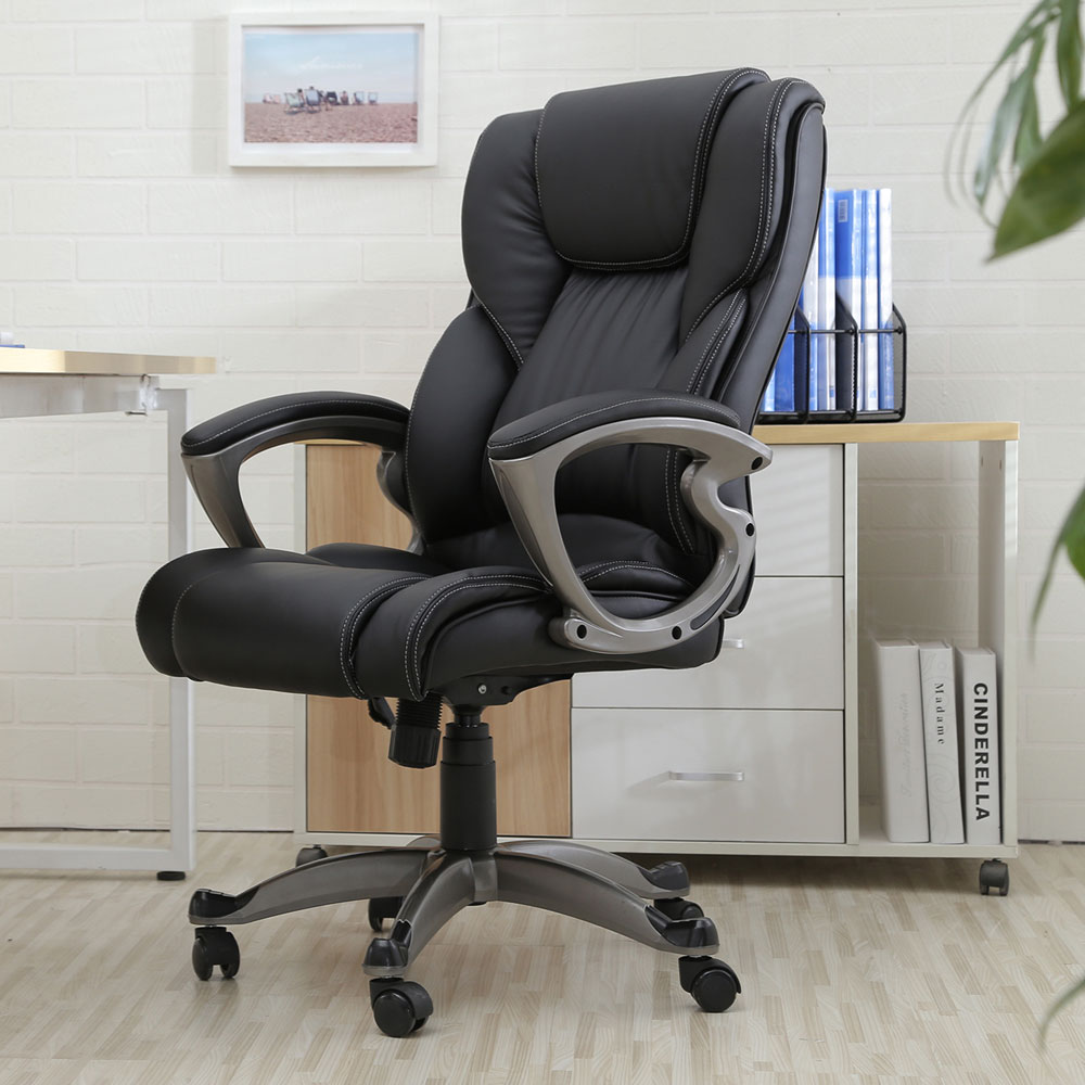 Executive Chair Swivel Office Chair Faux Leather High Back Gas Lift Black Armchair Rolling Legs Office Furniture Dropshipping giantex pu leather ergonomic office chair armchair executive chair boss lift chair swivel chair office furniture hw10069