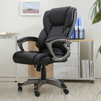 Executive Chair Swivel Office Chair Faux Leather High Back Gas Lift Black Armchair Rolling Legs Office Furniture HOT SALE