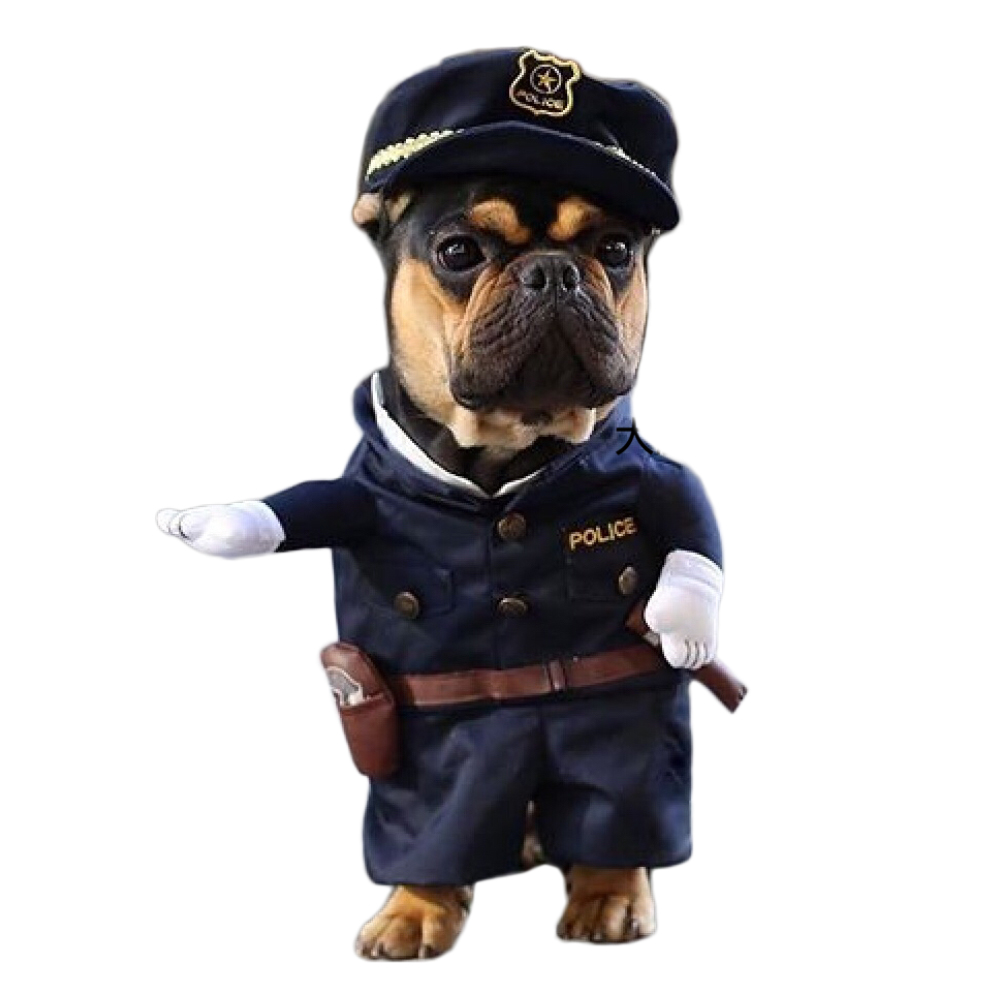 Funny Dog Costumes Cool Policeman Pet Dog Clothes Suit