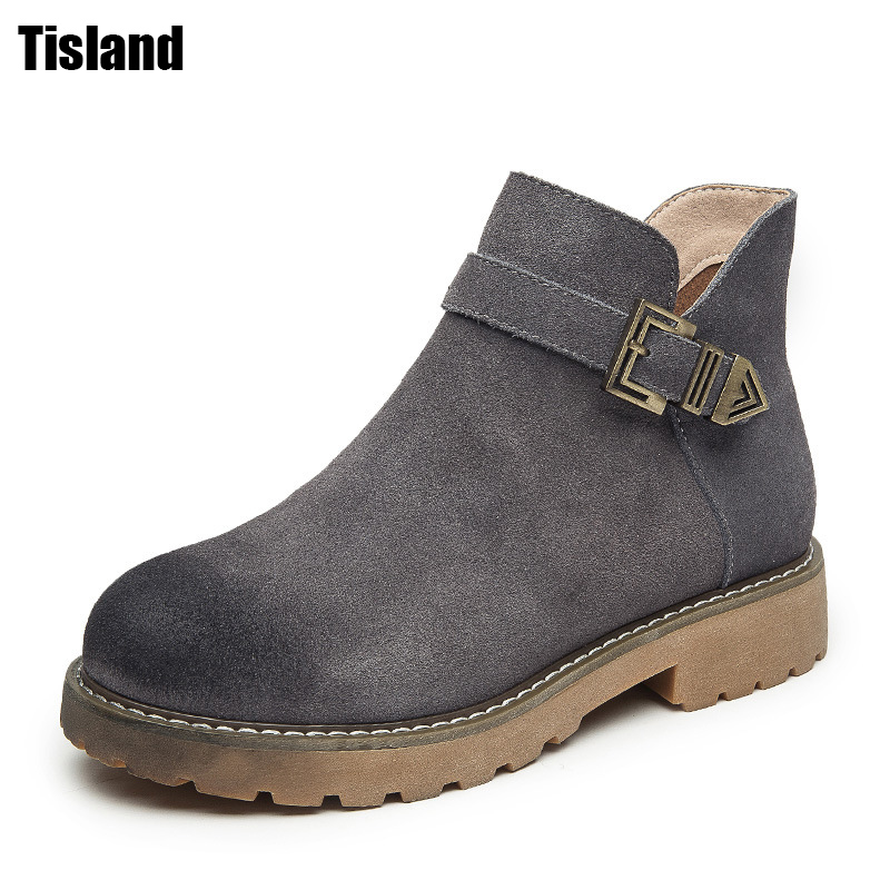 Fashion Real Nubuck Leather Boots cow split shoes Ankle Martin Boots Women Autumn Boots Winter shoes Woman Motorcycle Boots children s shoes autumn winter kids martin boots girls fashion leather boots boys motorcycle boots shoes child warming shoes