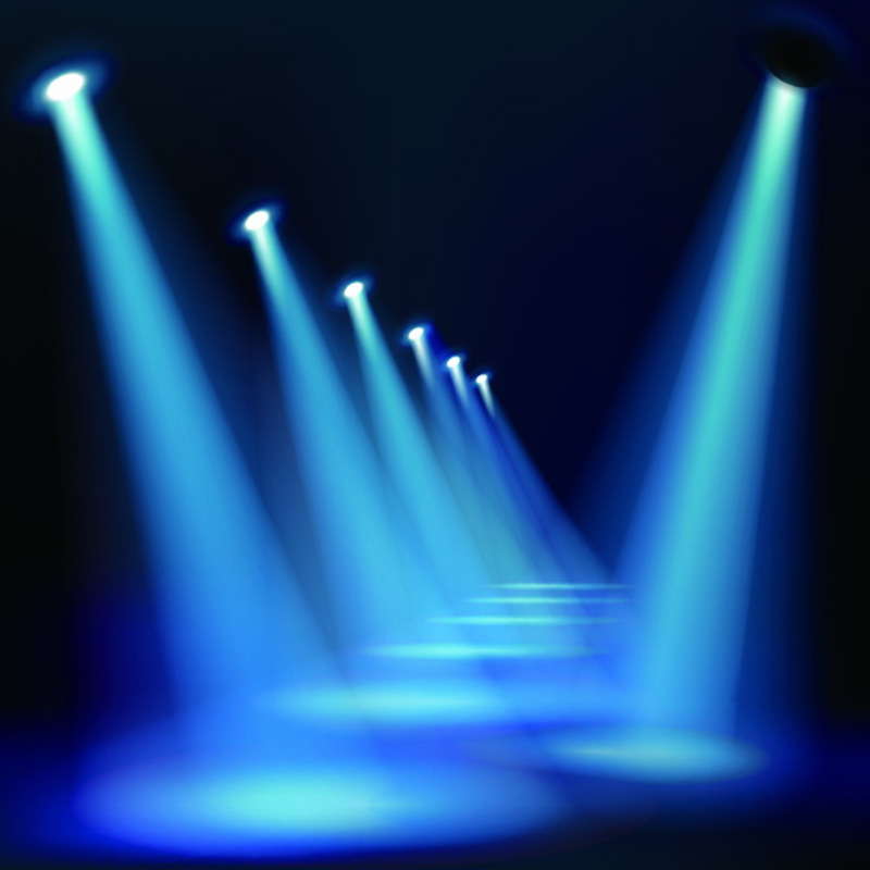 3d Hologram Effect Wallpaper 10x10ft Indoor Spot Lights Stage Passage Dark Blue Room