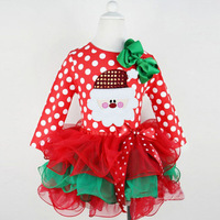 Baby Girls Dresses Spring Children Sweet Christmas Polka Dot Top Clothes Lace Princess Dress Infant Bow