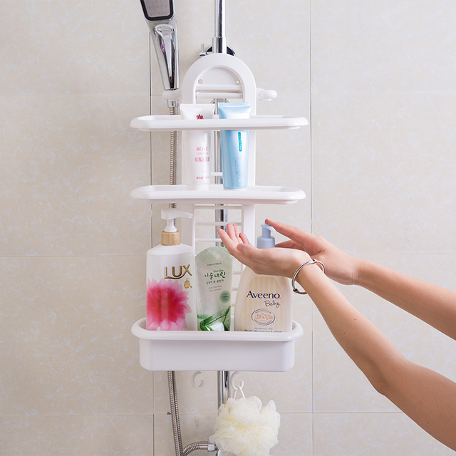 Double Plastic Shelves Punch Free Wash Stand Bathroom Supplies Wall Storage Rack Finishing