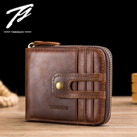 Tangguh 2019 Male Wallet High Quality Short Men's Wallet Genuine Leather Purse Zipper Real Leather Vintage Small Design Cowhide