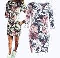 Señoras Vestido de Verano 2016 Traje de Moda Sexy Floral Print Vintage Bodycon Lápiz Mini Vestidos Cortos