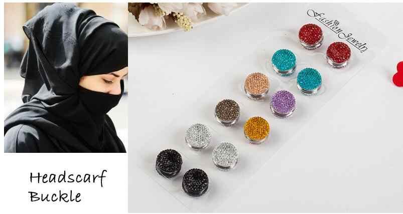 12 pcs/dúzia Moda Broche Pin Muçulmano para Cachecol Sólida Elegante Estilo Na Moda para As Mulheres Liga Rhinestone Magnético Forte atacado