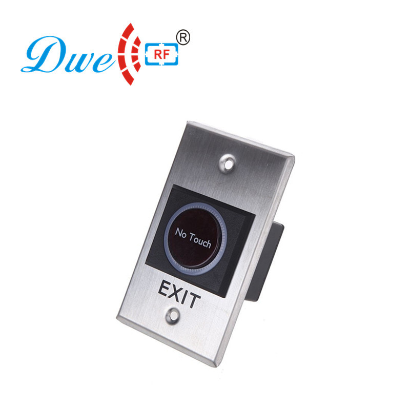 DWE CC RF access control parts NO NC COM door release button infrared no touch switch 12v 24V optional dwe cc rf access control kits aluminum alloy silver door open push release switch with key