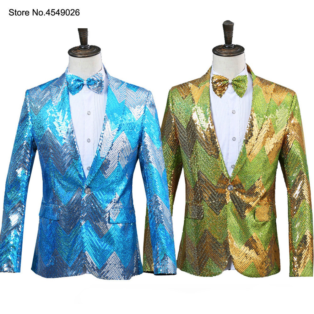 <font><b>Men</b></font> <font><b>Sequins</b></font> Shiny Party Dj Singer Stage Show Suit Dinner Tuxedo <font><b>Jacket</b></font> Wedding Prom Performance Blue <font><b>Green</b></font> Blazer With Tie image