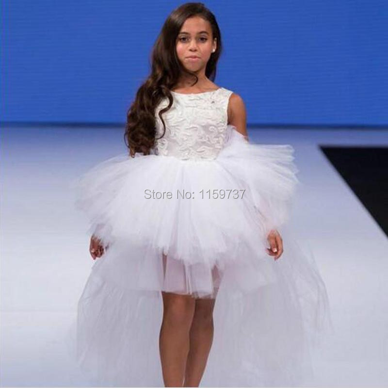 4d5db31f0843 Girls Fashion Show Dress Sleeveless Modern Party Gowns Kids Front Short  Back Long Competition Dress Flower Girl Dresses