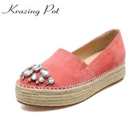 genuine leather round toe Straw loafers flat sweet crystal diamond sheep suede mixed color women causal shoes high quality L7f2