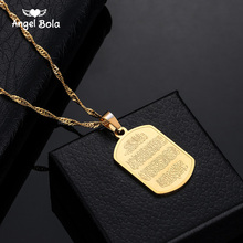 Drop Shipping Allah Stainless Steel Pendant Quran Necklace Islam Muslim Arabic God Messager Gift Middle East Arab Jewelry