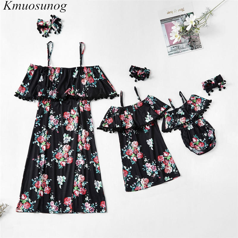 Mother Daughter Dresses New Off Shoulder Mini Dress Baby Girl Clothes Baby Romper Mom And Daughter Dress Family Matching C0504