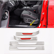 For Jaguar E-PACE E PACE 2018 2019 Stainless Steel Back Silver Car Interior Door Sill Protect Plate Panel Cover Trim 4pcs цена