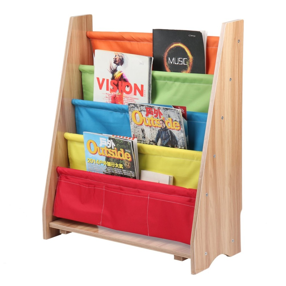 где купить Magazine Rack Wooden Bookcase Rack Children Storage Bookshelf 4 Tiers Book Organizer Durable Book Display Holder Home Furniture дешево