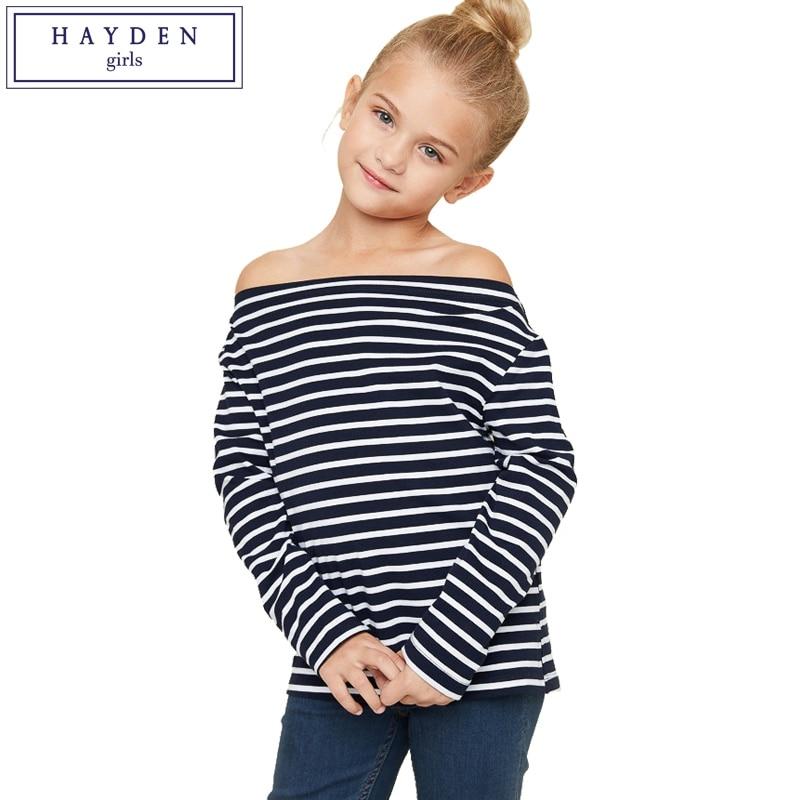 hayden girls stripe blouse kids long sleeve off shoulder. Black Bedroom Furniture Sets. Home Design Ideas