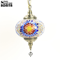 Big Size Southeast Asian Bohemia Hanging Lamps For Dining Room Handmade Iron Glass Mosaic Colorful Design
