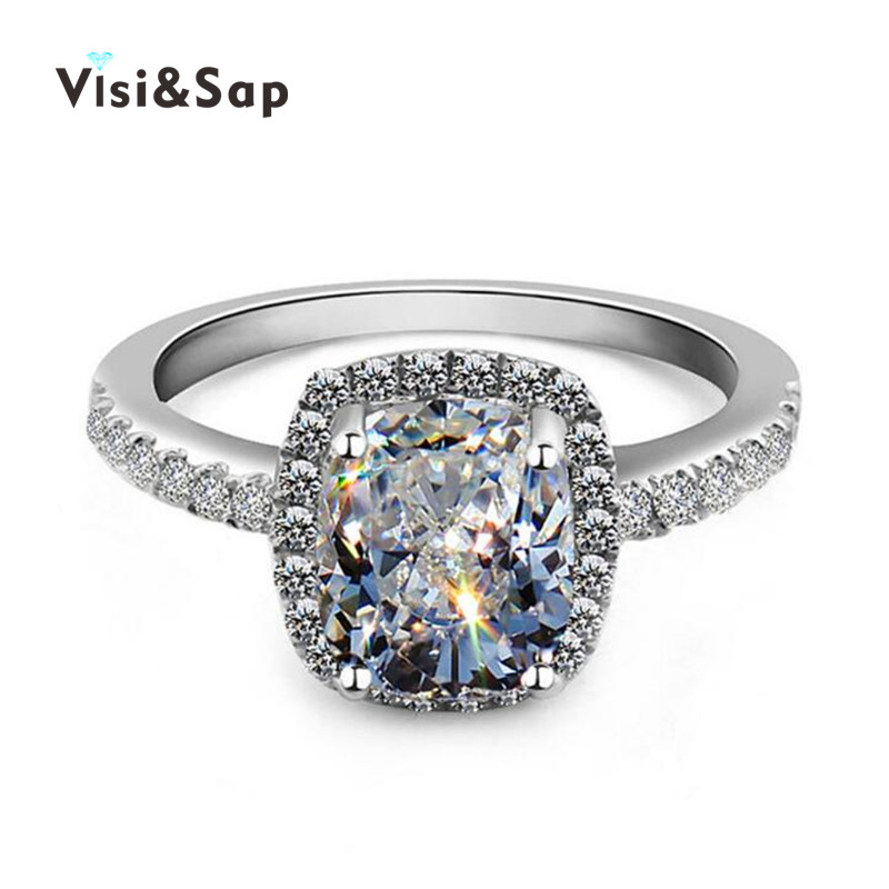 18k white gold plated rings Engagement bague cz diamond rings For Women Wedding fashion jewelry brand design high quality VSR035