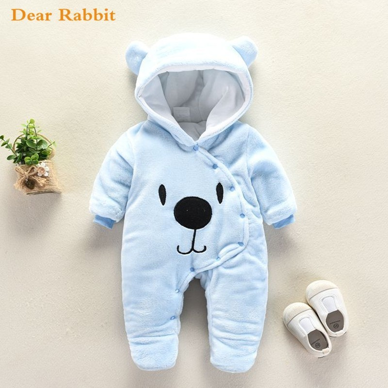 2018 Cute Cartoon Bear Flannel new born Baby clothes   Romper   Novelty Cotton boy girl Animal   Rompers   Stitch Baby's Sets Baby