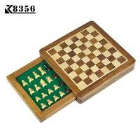 K8356 En Bois Massif Mini-Échecs Portable Non-glissement Tiroir Pièces Boîte International Magnétique Échecs Exquis Puzzle Pratique De Stockage