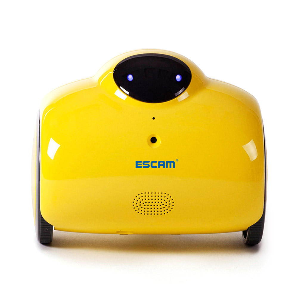 ESCAM Robot QN02 720P WiFi IP Camera Smart Web Cam Touch Interactive Move Laugh Automatically Charge Support Remote Video-Yellow brand new car remote robot wifi camera support smart phone remote control wire charging automatic recharge ip secuirity camera