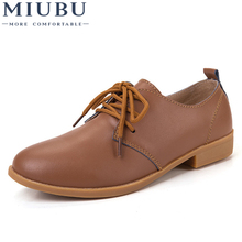 MIUBU Classic Women Genuine Leather Flat Oxfords Shoes Casual Solid Lace Up Ladies Flats Women Shoes Mocassin Femme instantarts women s flats casual leather shoes for women breathable ladies lace up sunflower oxfords butterfly floral flats shoe