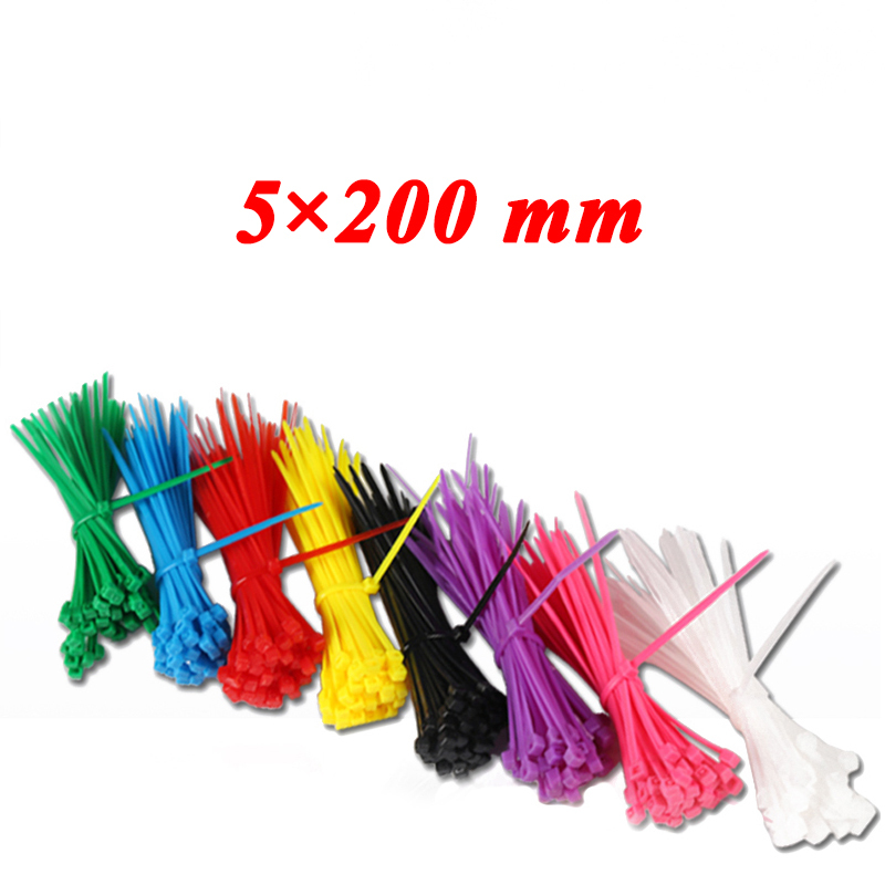 100pcs 5*200 mm Self-Locking Plastic Nylon Cable Ties Cable Zip Tie Loop Ties For Wires Tidy band ribbon Colorful Non-standard