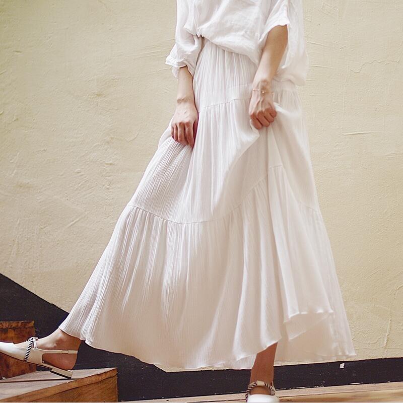 c5a76a0e6 Falda de mujer talla grande 6XL 7XL 2019 verano elegante fiesta faldas  largas cintura elástica vacaciones playa Maxi faldas Vestido blanco negro