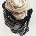 Весна лето мягкого хлопка хлопок TR твердые бесконечность мягкие кружева шарф женская шаль мусульманин hijab953