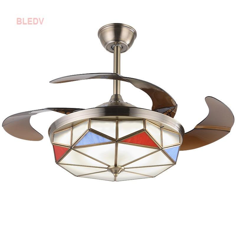 Europeo di lusso LED stealth ventilatore a soffitto Americano retrò soggiorno sala da pranzo camera da letto Soffitto Ventole 110 v/220 vVentilador de teto