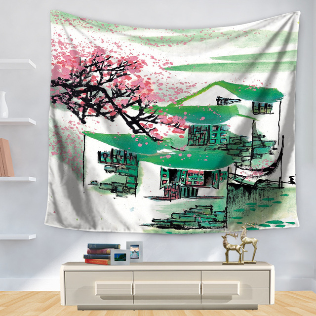 Polyester Tapestry Traditional Chinese Ink 3D Mandala Toalla Playa Home Decoration Wall Blankets Door Hanging Hippie Tapestries