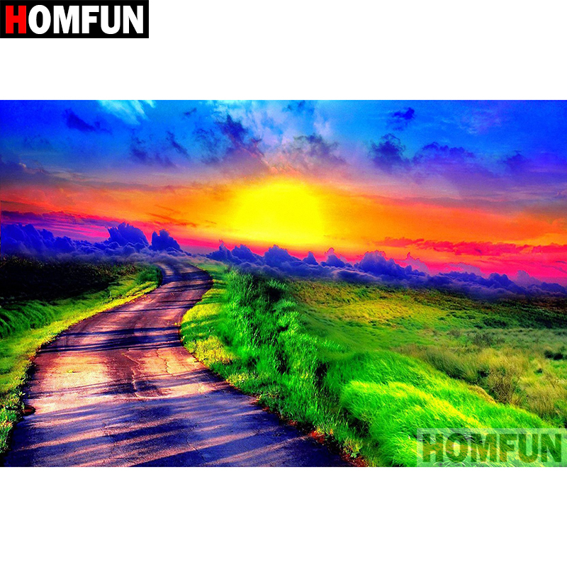 HOMFUN Full Square Round Drill 5D DIY Diamond Painting quot Sunrise landscape quot Embroidery Cross Stitch 5D Home Decor Gift A08174 in Diamond Painting Cross Stitch from Home amp Garden