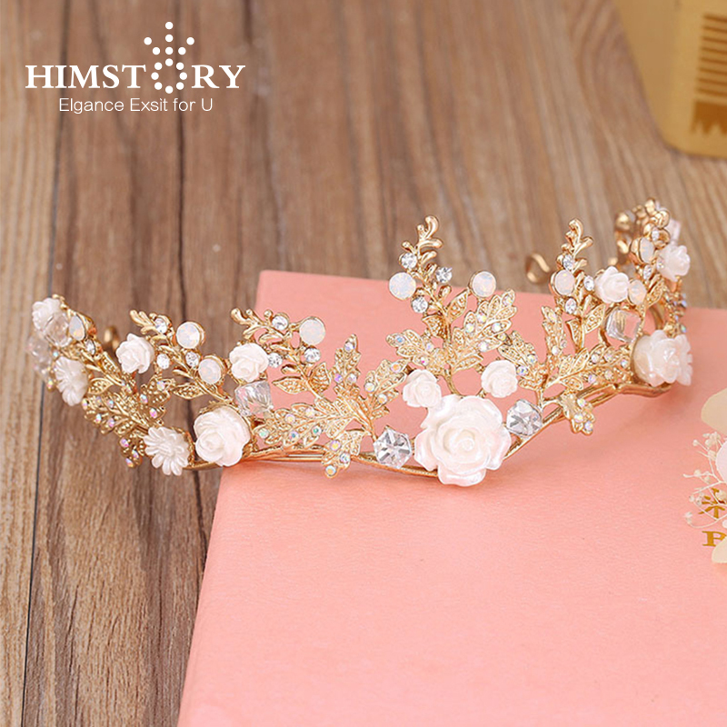 HIMSTORY New Coming Bride Headdress Retro Hair Jewelry Gold Flower Rhinestone Flower Crown Women Wedding Accessory handmade vogue big mesh fascinators hats for women party wedding bride show banquet rhinestone headwear hat shooting headdress