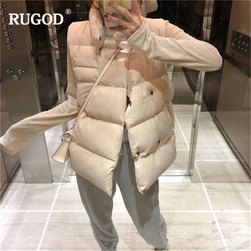 RUGOD Casual Solid Double Breasted Cotton Vest Coat Women Windproof Sleeveless Waistcoat Warm Jackets Vest Female 2019 Winter