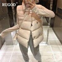 RUGOD Casual Solid Double Breasted Cotton Vest coat Women Windproof Sleeveless Waistcoat Warm Jackets vest female 2019 Winter